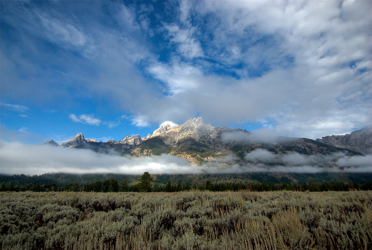 A Mountain through the Clouds in Grand Tetons National Park, Wyoming