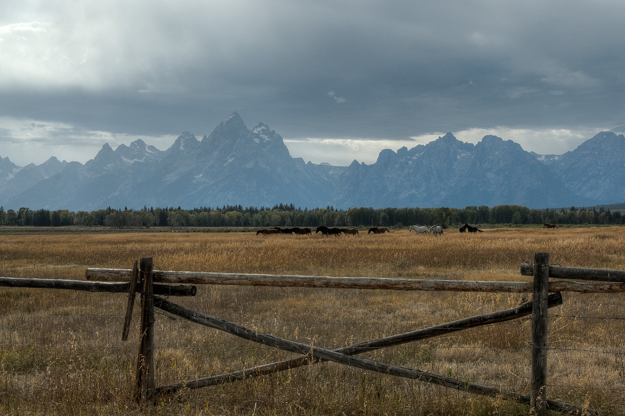 Teton Range as seen from the landscape at Grand Teton National Park, Wyoming