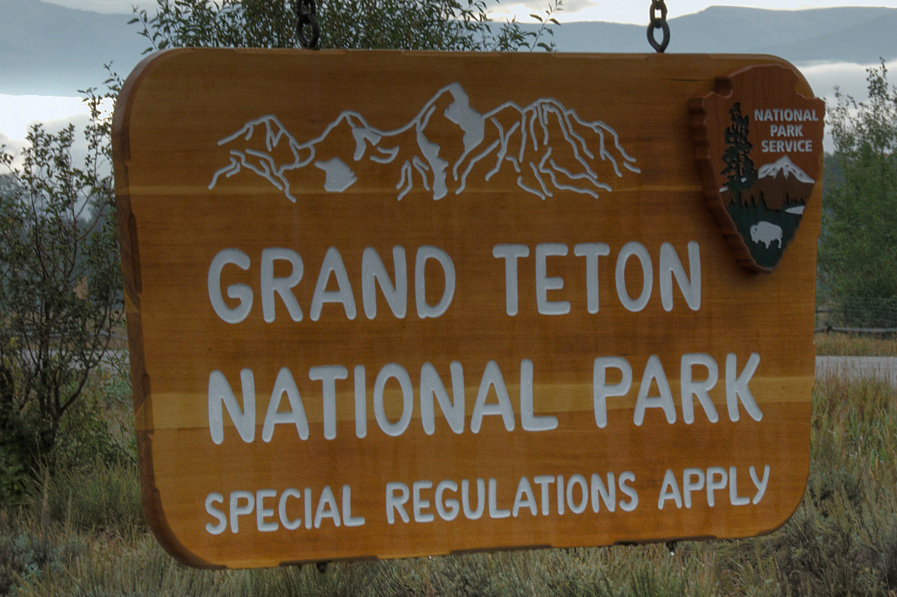 Sign at Grand Teton National Park in Wyoming