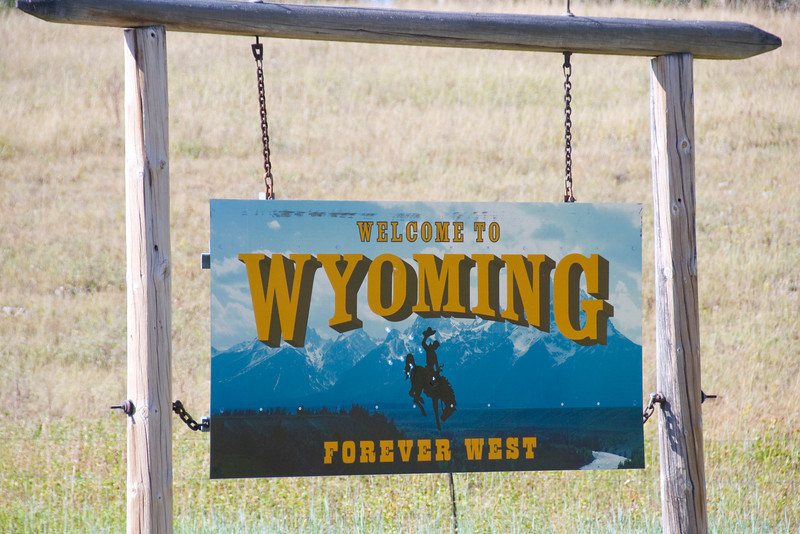 """Welcome to Wyoming"" sign"