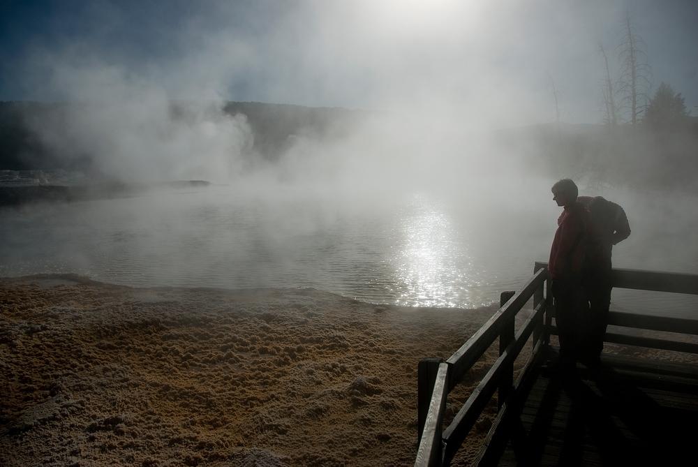 Visitors at Mammoth Springs, Yellowstone NP