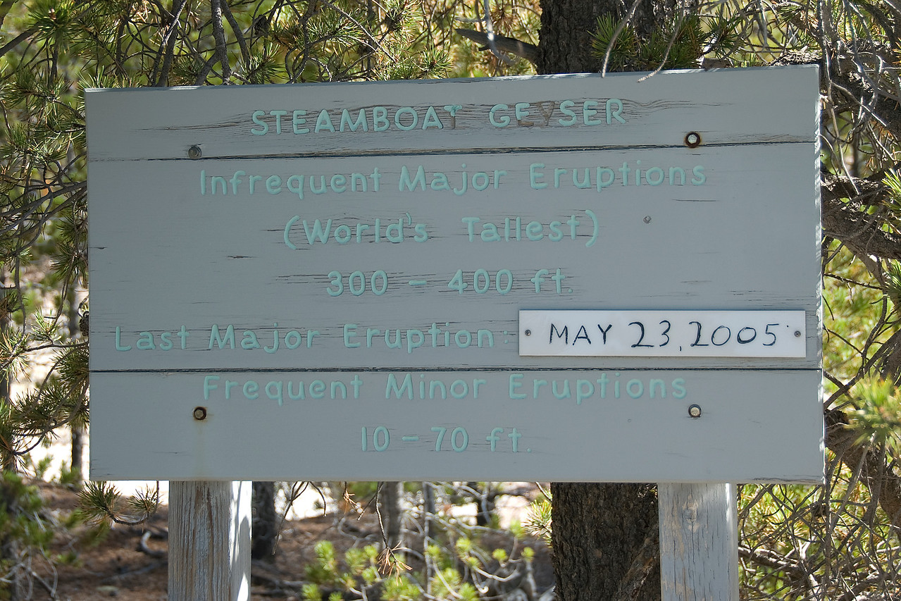 Steamboat geyser warning sign at Yellowstone National Park