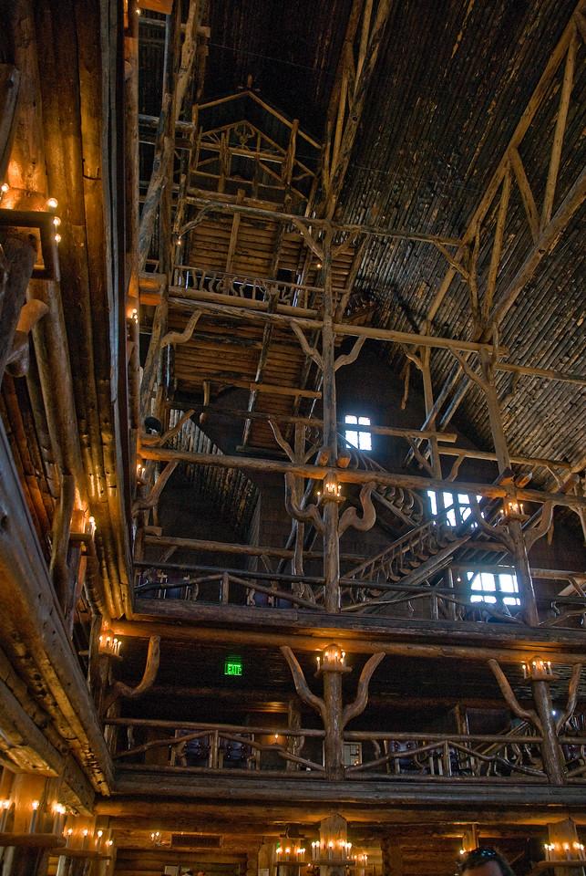 Inside lobby at Old Faithfull Inn, Yellowstone National Park