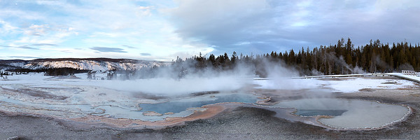 Upper old faithful geyser basin with a thermal pool before you