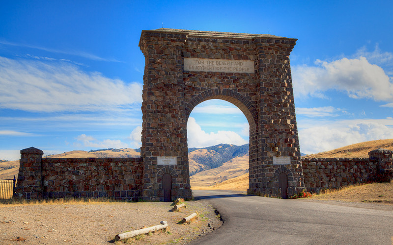"""North Entrance to Yellowstone National Park -- """"For the benefit and enjoyment of the people"""""""