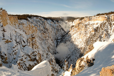 Grand canyon of the yellowstone in winter horizontal view