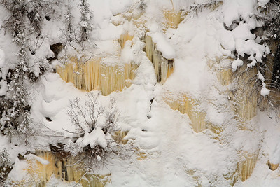 Ice formations along the road yellowstone national park winter