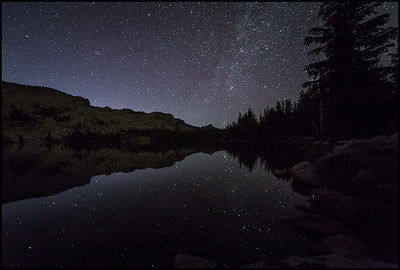 Night sky reflecting in May Lake