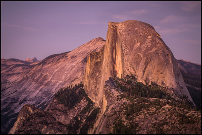 View of Half Dome from Glacier Point at sunset