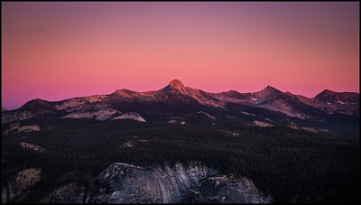 View on the descent from Half Dome at sunset