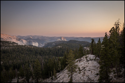 Descent from Mt Hoffman, vew of Half Dome at sunset