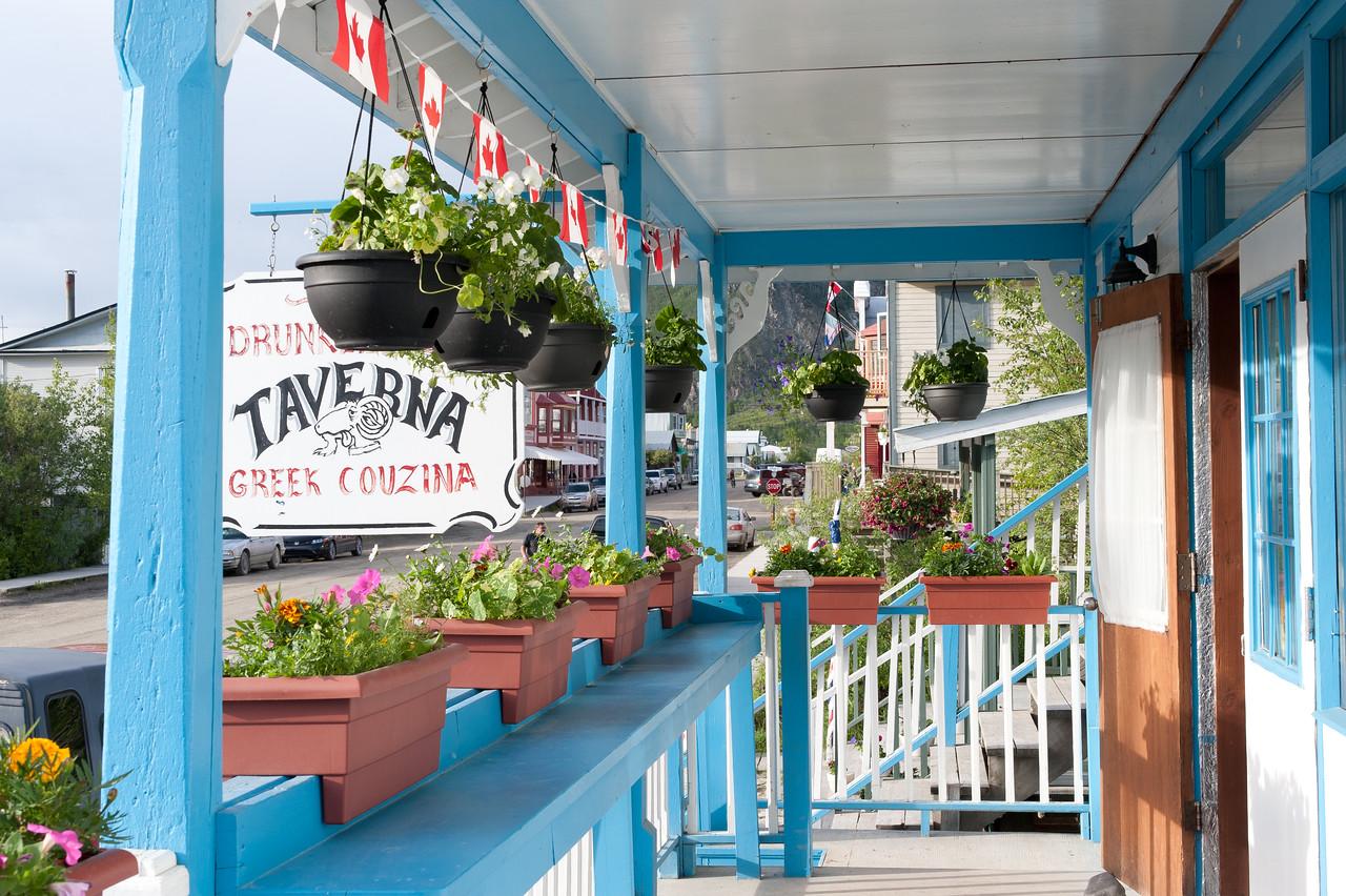 Balcony from Greek restaurant in Dawson City, Yukon