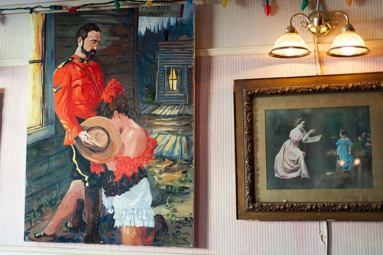Painting inside a restaurant in Dawson City, Yukon, Canada