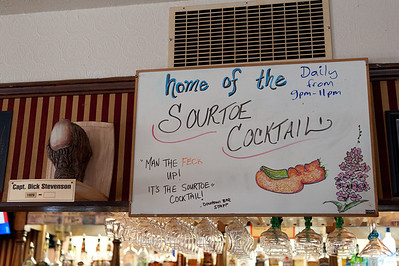 Cocktail menu inside a restaurant in Dawson City, Yukon, Canada