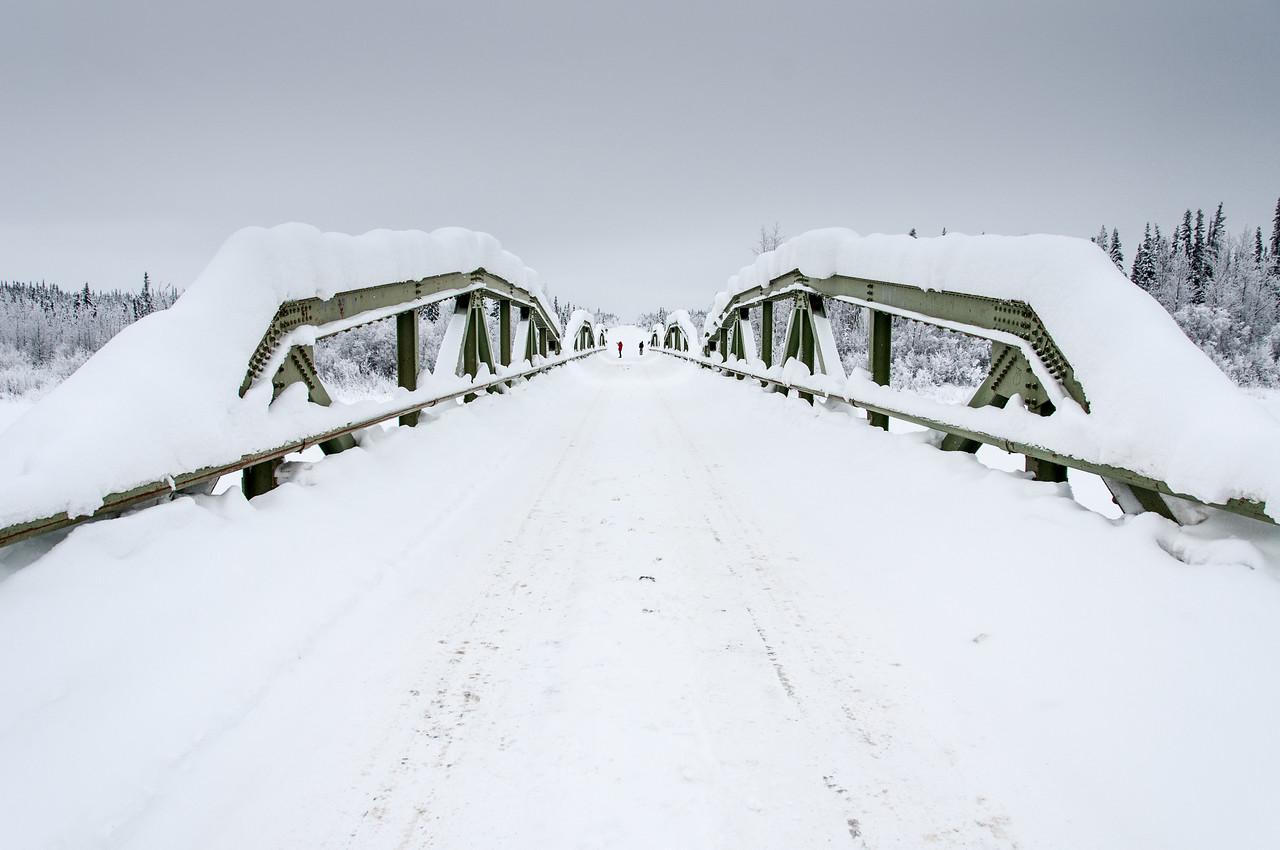 Snow covered bridge in Dawson City, Yukon, Canada