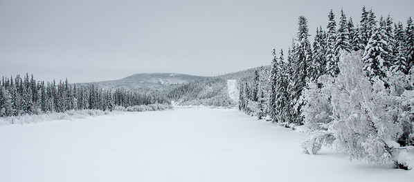 Top of the World Highway in snow - Dawson City, Yukon