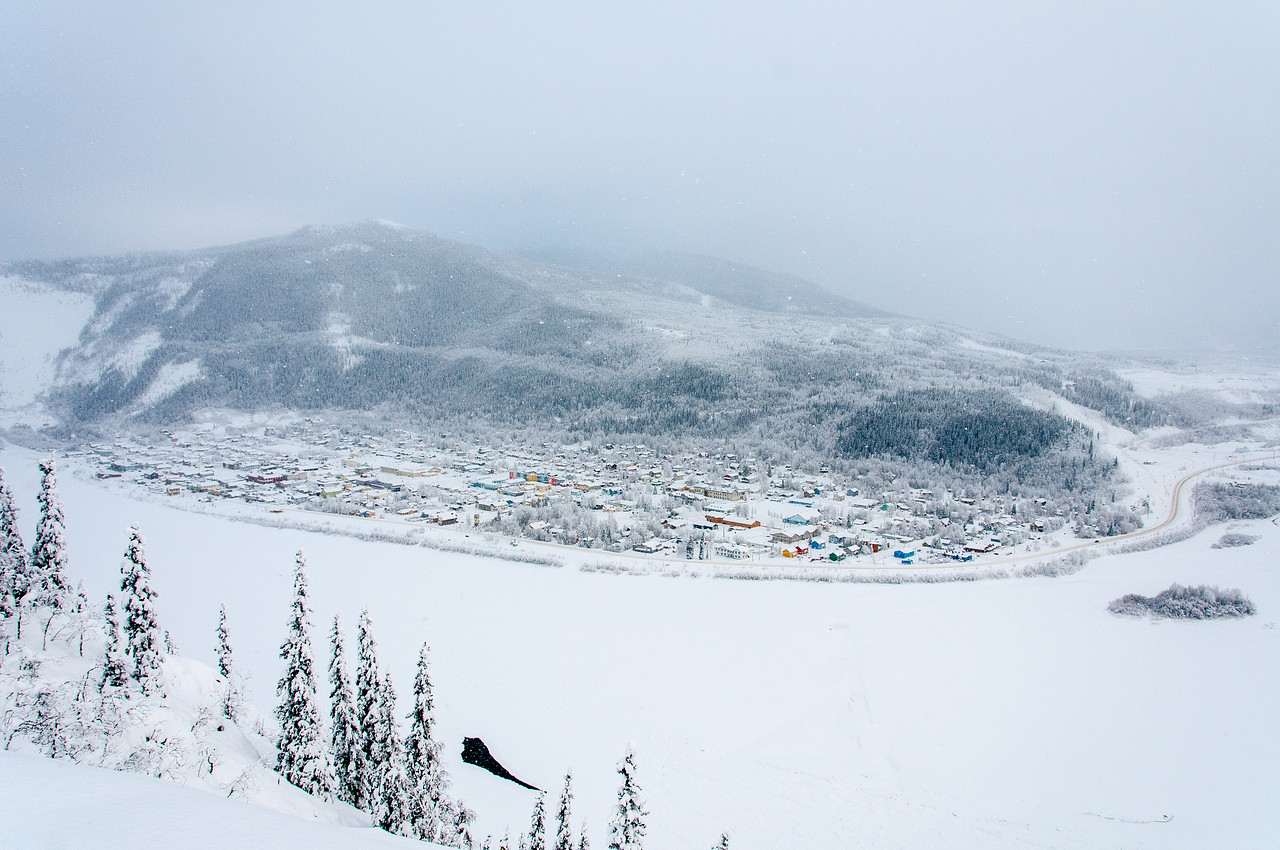 Dawson City during winter time in Yukon, Canada