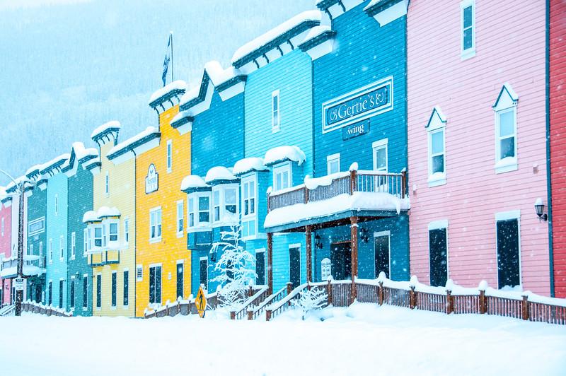 Snow covered buildings in Dawson City, Yukon, Canada