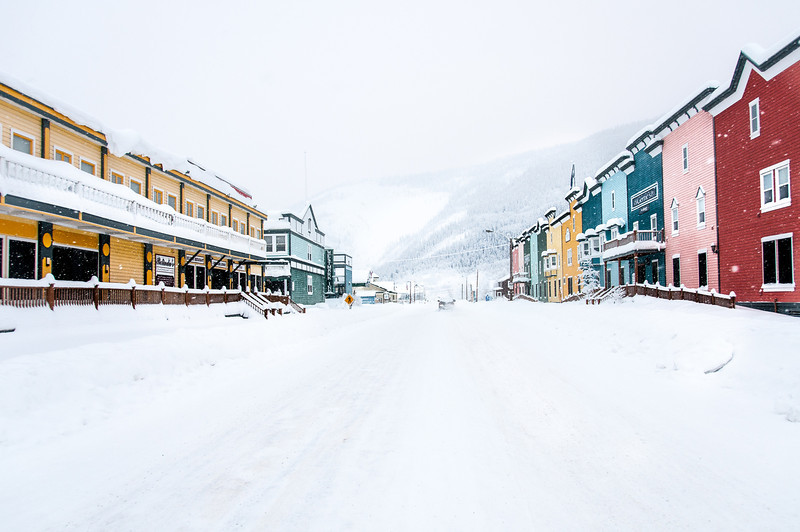 Dawson City covered in snow - Yukon, Canada
