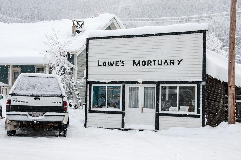 Mortuary during winter in Dawson City, Yukon, Canada