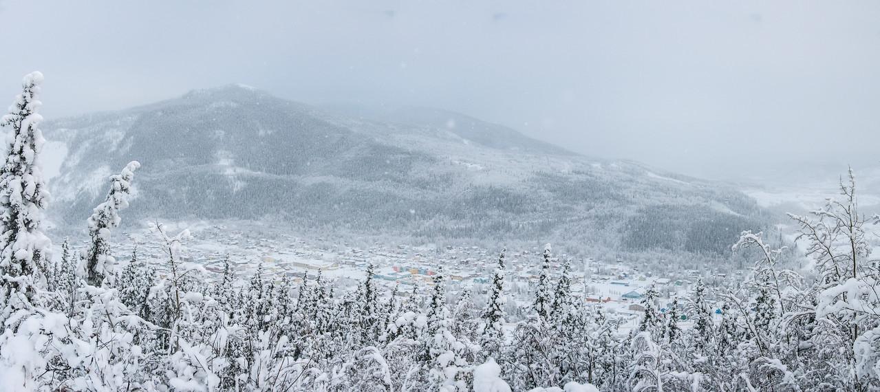 Panorama of Dawson City during winter in Yukon, Canada