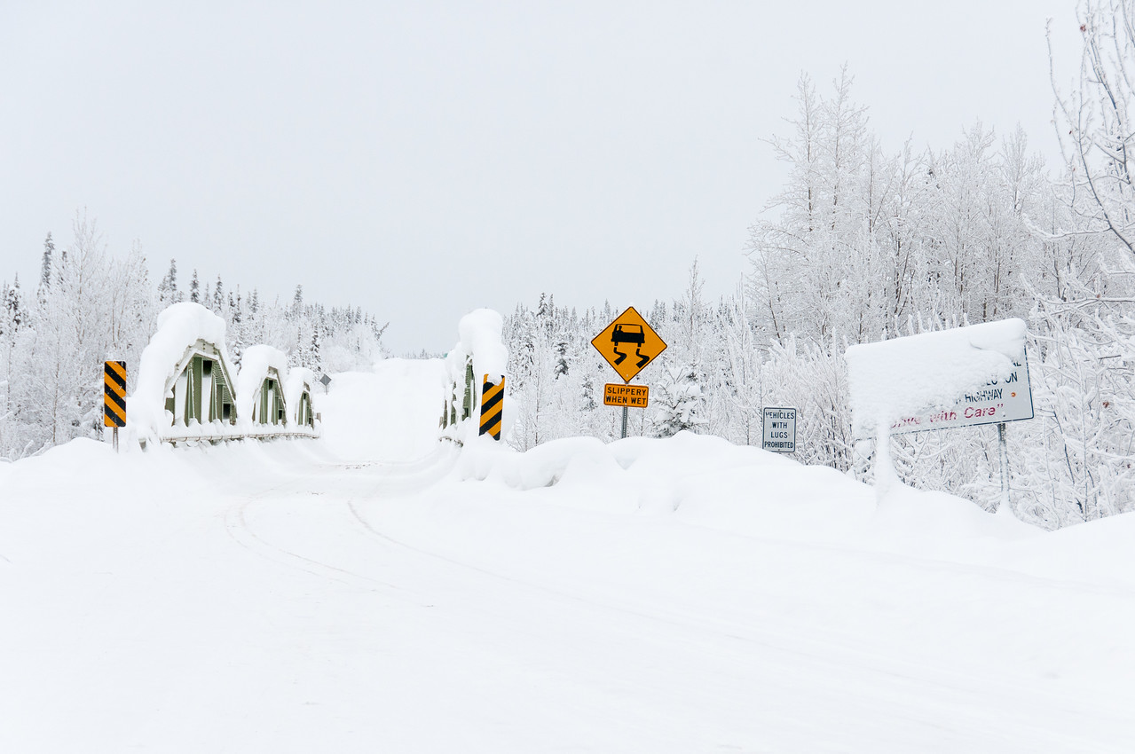Snow covered bridge in Dawson City, Yukon, Canada