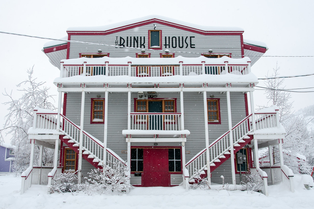 The Bunk House during winter in Dawson City, Yukon, Canada