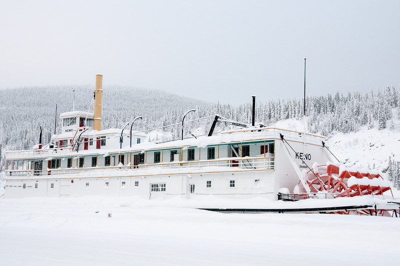 Ship covered in snow in Dawson City, Yukon, Canada