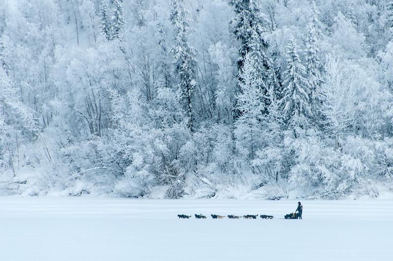 Dawson City during winter in Yukon, Canada