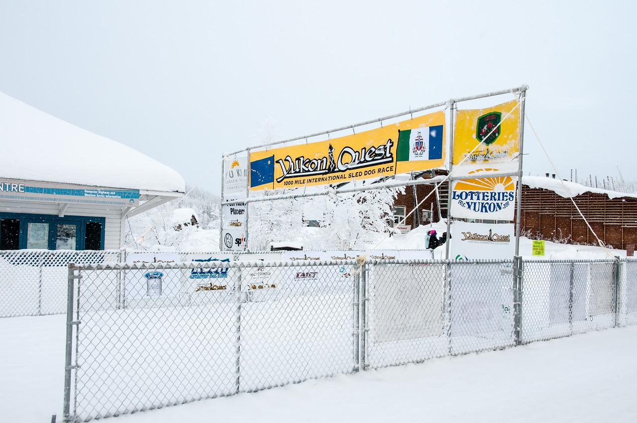 Starting line of the Yukon Quest in Dawson City, Yukon, Canada
