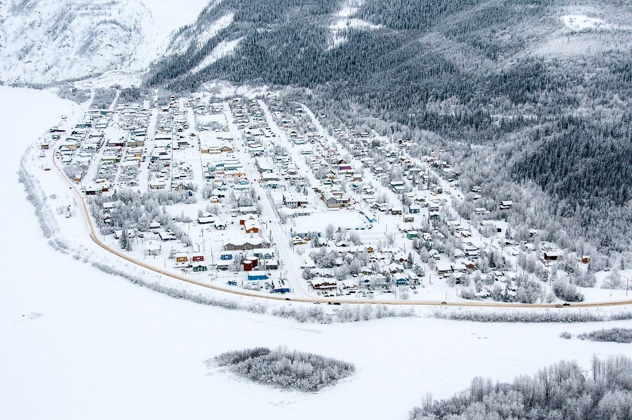 Aerial view of Dawson City covered in snow - Yukon, Canada