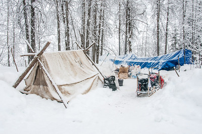 Campsite during winter in Dawson City, Yukon, Canada