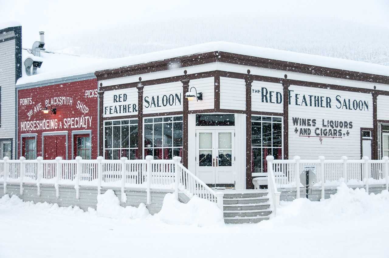 Red Feather Saloon during winter in Dawson City, Yukon, Canada