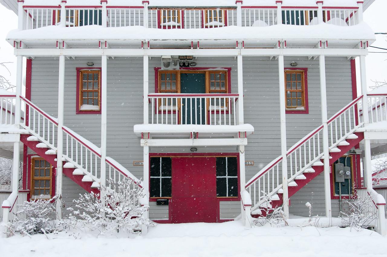 The Bunk House during winter in Dawson City, Yukon, Canada