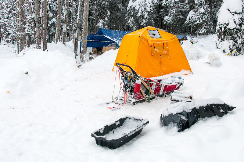 Campsite during winter in Dawson City, Yukon, Canada