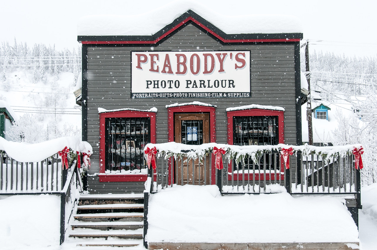 Peabody's Photo Parlour during winter in Dawson City, Yukon