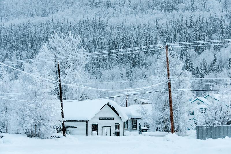 Buildings covered in snow in Dawson City, Yukon, Canada