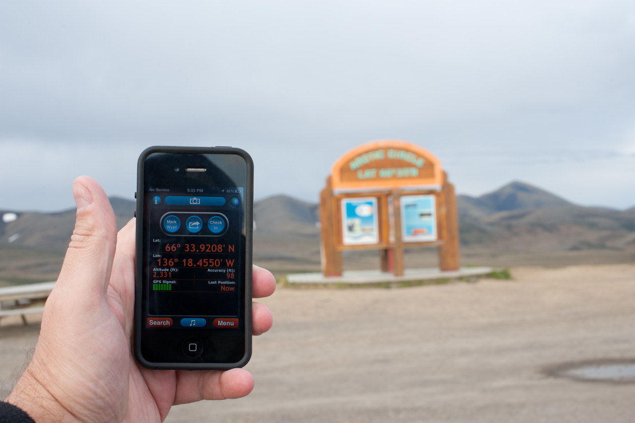 Matching latitude mark maps with smartphone - Arctic Circle in Yukon, Canada