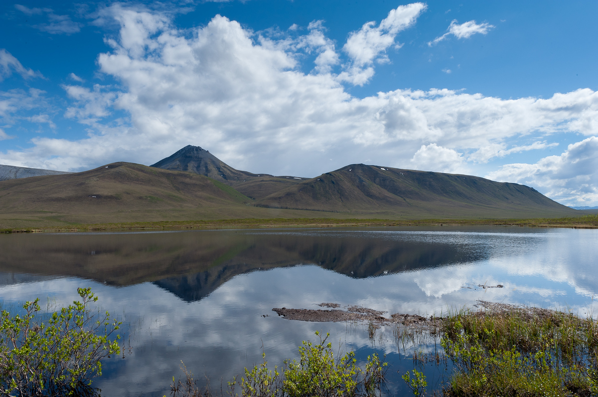 Reflections in the Water Along the Dempster Highway in the Yukon, Canada