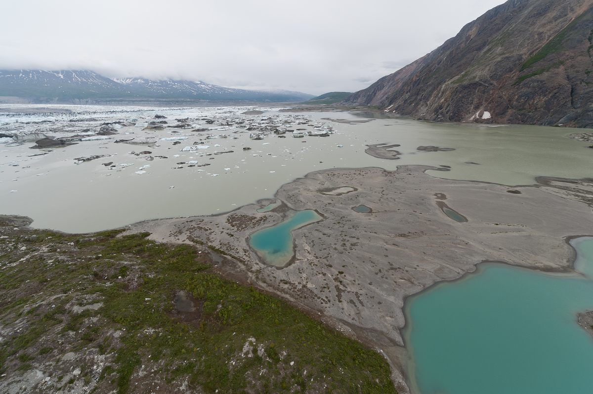 Aerial view of Glacier Melt Water in Kluane National Park, Yukon