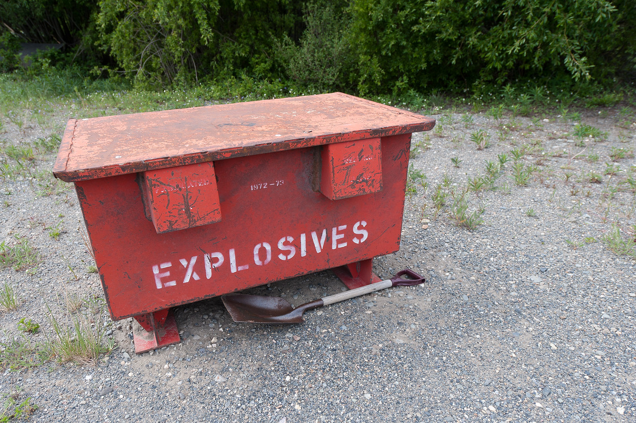 Box of explosives at Kluane National Park, Yukon, Canada
