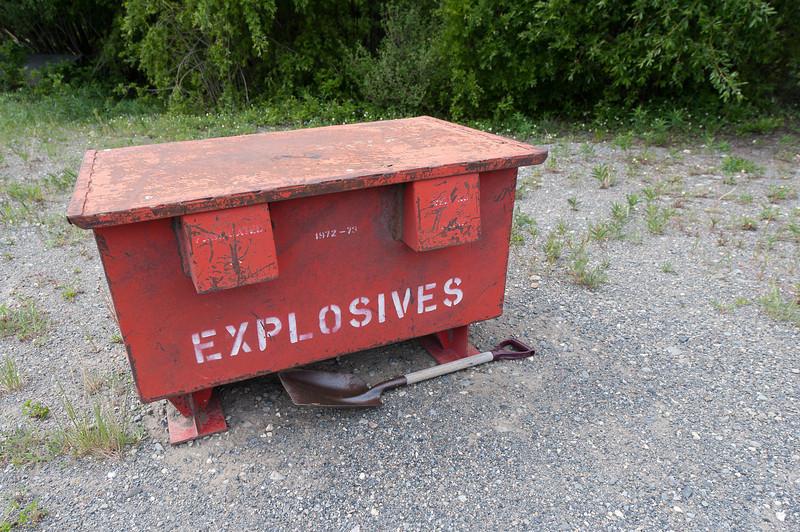 Box of explosives at Kluane National Park, Yukon, Canada