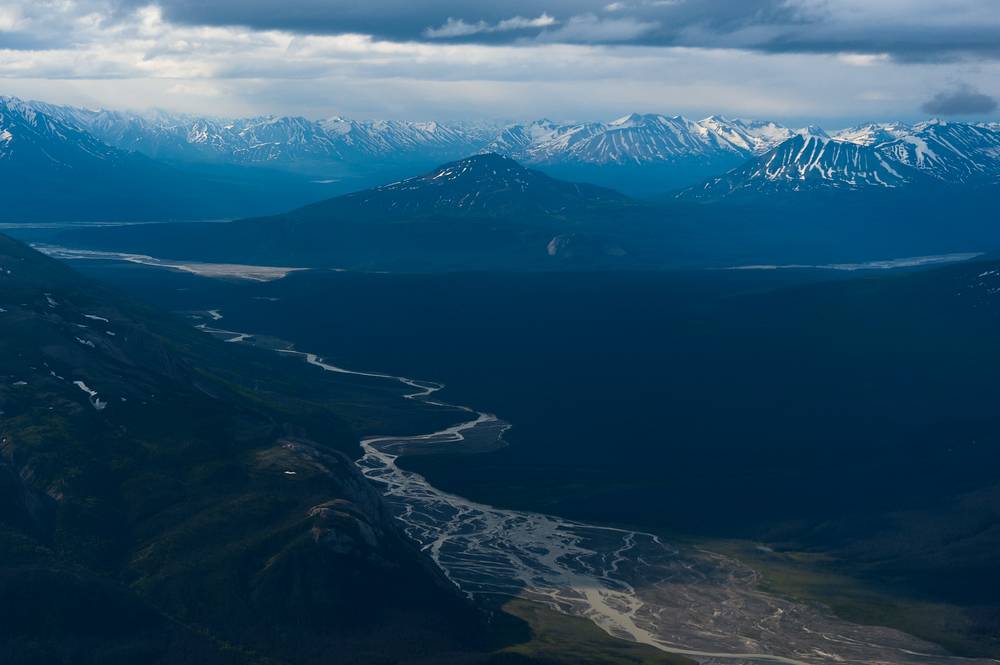 Aerial view of a river over Kluane National Park, Yukon