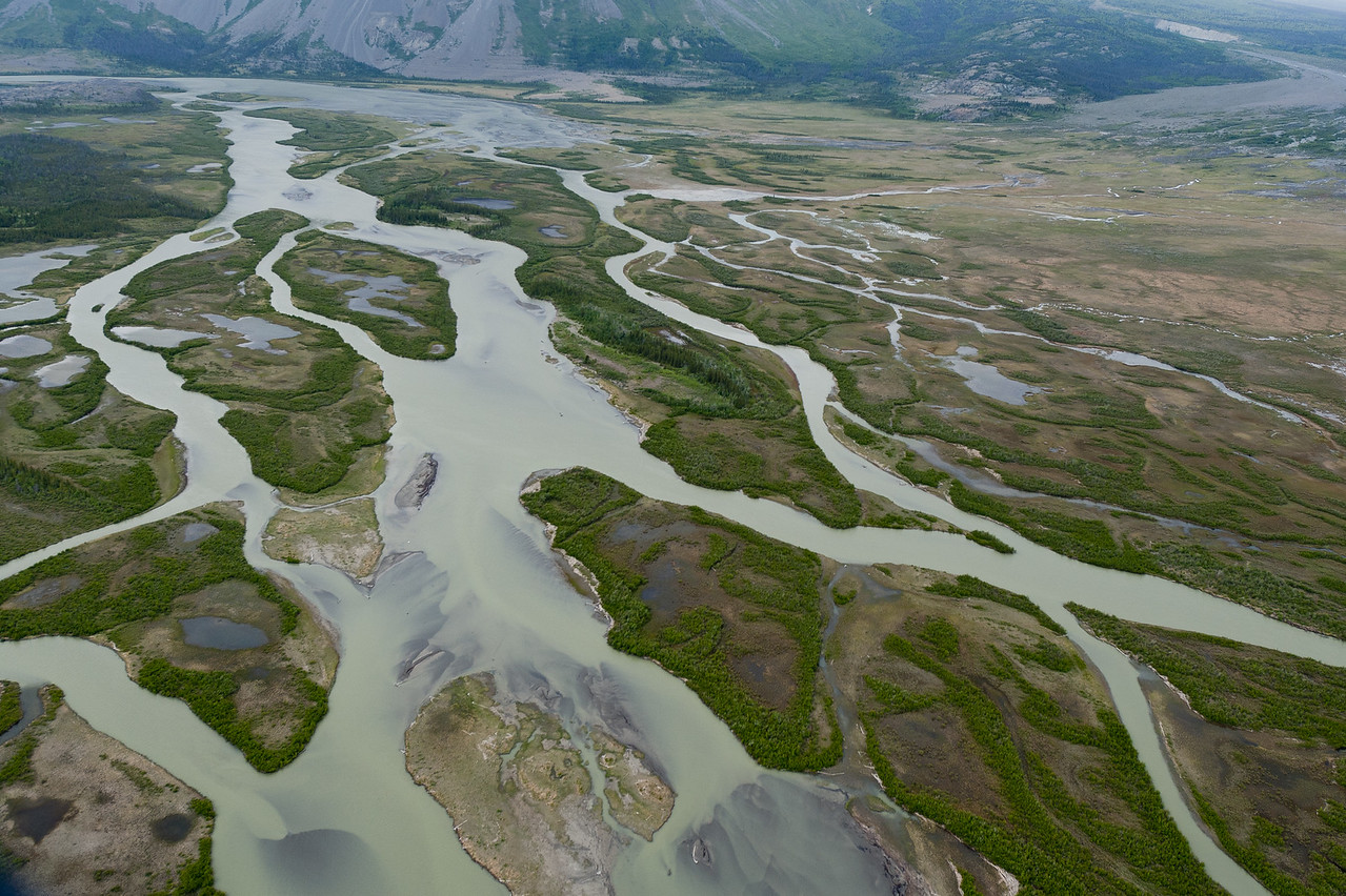 Braided pattern of the Slims River, Kluane National Park, Yukon, Canada