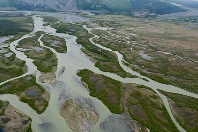Braided pattern of the Slims River, Kluane National Park, Yukon, Canada