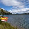 Kayaks along Emerald Lake in                                       the Yukon, Canada