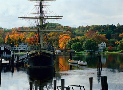 Mystic Fall: featuring the Charles W. Morgan. This is the last of the New England whaling flreet, now preserved at Mystic Seaport Museum of America and the Sea.