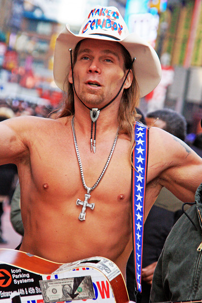 The famous Naked Cowboy of Times Square, Manhattan, New York