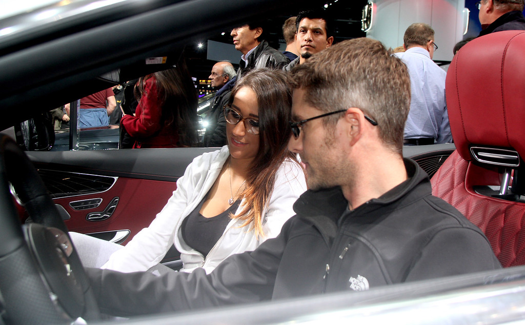 . Derek Brown and Cindy Salveta from Cheszsterfield check out the Mercedes