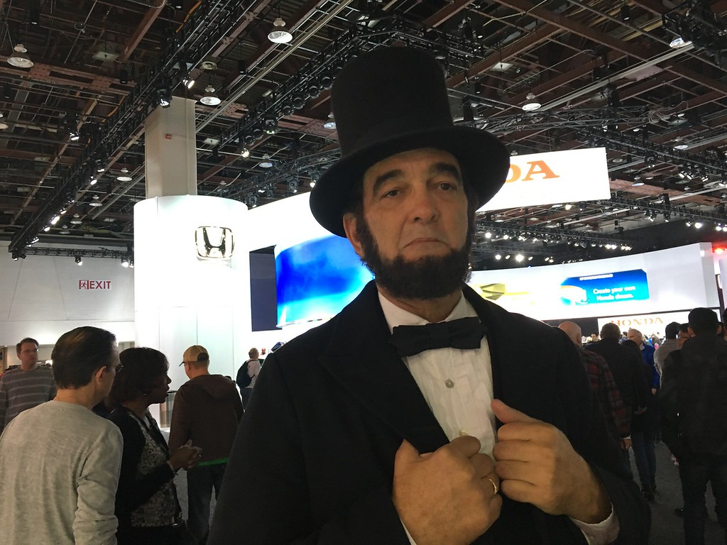 . A gentleman portraying U.S. President Abe Lincoln was among the celebrity guests of Saturday\'s opening of the NAIAS. GINA JOSEPH - THE MACOMB DAILY